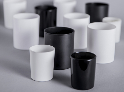 Black and white candle containers Manufacture Française de Bougies